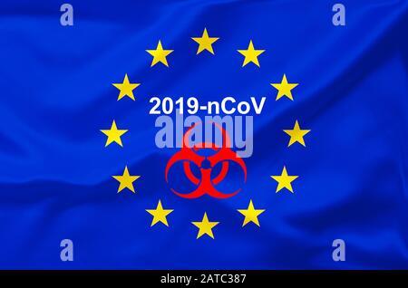 Euroflagge, Flagge, EU-Fahne,  Eurostars, Corona-Virus, Coronavirus, 2019-nCoV, - Stock Photo