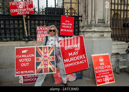 Westminster, London, UK. 1st May, 2019. Brexit Leave campaigners and signs. Credit: Maureen McLean/Alamy - Stock Photo