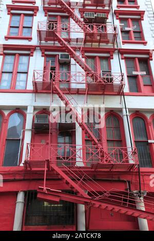Loft Building, Fire Escape, Tribeca, New York City, Manhattan, USA - Stock Photo