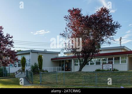 BURNABY, CANADA - JUNE 12, 2019: street view of quiet neighborhood in big city - Stock Photo