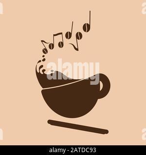 Espresso Music Concept logo (customizable) - Stock Photo