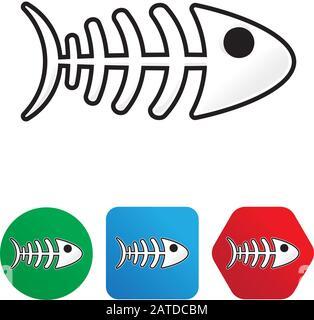 Fishbone cartoon style sticker (isolated and on shapes) - Stock Photo