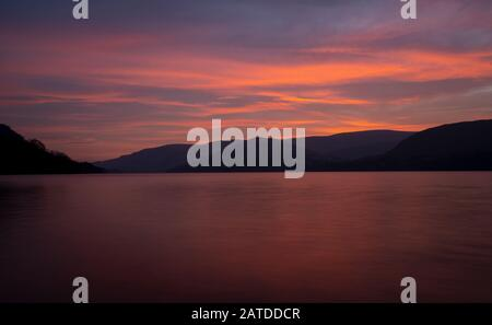Sunrise over Ullswater, The Lake District. Ullswater is the second largest lake in the English Lake District, - Stock Photo