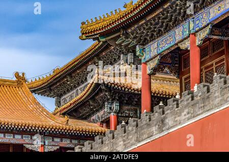 China, Beijing, Forbidden City Different design elements of the colorful buildings rooftops closeup details.