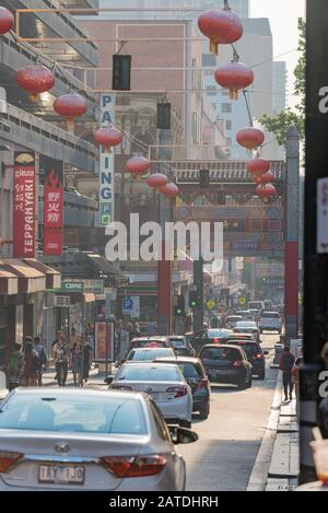 Melbourne, Australia Dec 20th, 2019: Little Bourke Street in China Town precinct is filled with smoke haze from the New South Wales bushfires. - Stock Photo