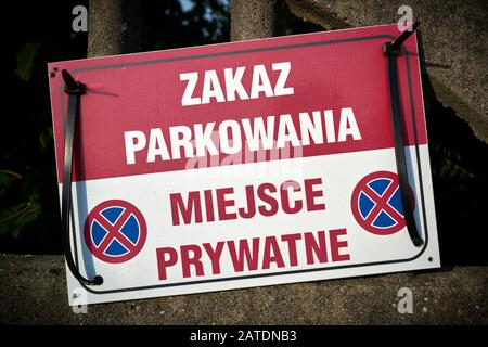 Sign in Poland with the inscription Parking prohibited, private parking - Stock Photo