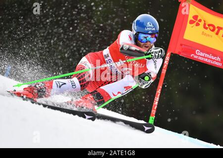Marco SCHWARZ (AUT), action. Alpine skiing: men's giant slalom/Kandahar race in Garmisch Partenkirchen on 02.02.2019. | usage worldwide - Stock Photo