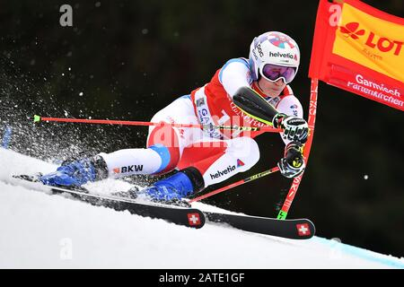 Marco ORMATT (SUI), action. Alpine skiing: men's giant slalom/Kandahar race in Garmisch Partenkirchen on 02.02.2019. | usage worldwide - Stock Photo