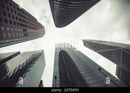Vintage stylized photo of skyscrapers in San Francisco City, California, USA. - Stock Photo