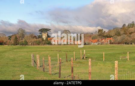 English Landscape in the Chiltern Hills with the Village of Hambleden in the background - Stock Photo