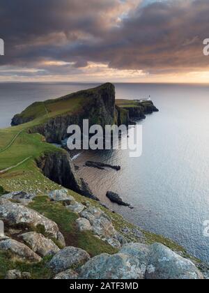 Neist Point Lighthouse near Glendale on the West Coast of the Isle of Skye - Stock Photo