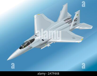 Detailed Isometric Vector Illustration of an F-15 Eagle Jet Fighter Airborne - Stock Photo