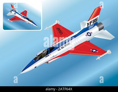 Detailed Isometric Vector Illustration of an F-16 Falcon Fighter Jet - Stock Photo