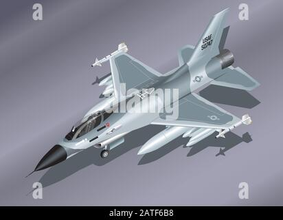 Detailed Isometric Vector Illustration of an F-16 Fighter Jet Parked on the Ground - Stock Photo
