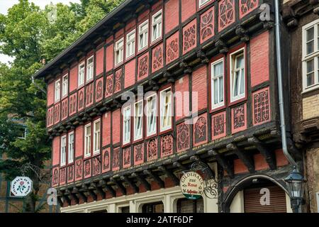 Gildehaus zur Rose, half-timbered house on Breite Strasse at Altstadt in Quedlinburg, Saxony-Anhalt, Germany - Stock Photo