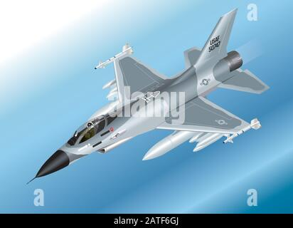 Detailed Isometric Vector Illustration of an F-16 Fighter Jet Airborne - Stock Photo