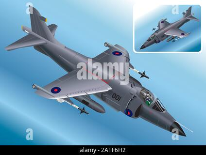 Detailed Isometric Vector Illustration of a Royal Navy Sea Harrier - Stock Photo