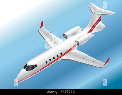 Detailed Isometric Vector Illustration of a Learjet 60 - Stock Photo