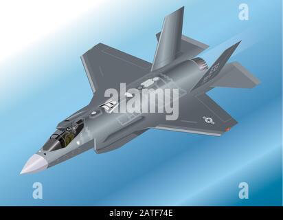 Detailed Isometric Vector Illustration of an F-35 Lightning II Fighter Jet - Stock Photo