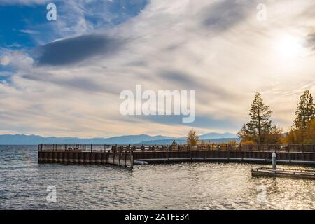 Sunset over the Tahoe Vista Recreation Area and Boat Launch - Stock Photo