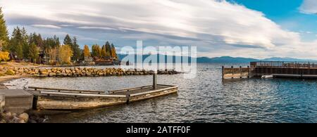 Panoramic view of the houses and docks on the shores of Lake Tahoe from Tahoe Vista - Stock Photo