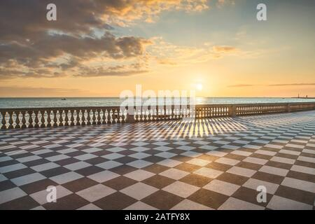 Mascagni Terrazza terrace belvedere seafront at sunset. Livorno Tuscany Italy Europe. - Stock Photo