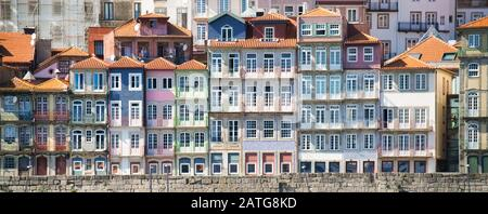 Panoramic View Of Porto Oporto Typical Old Houses - Stock Photo