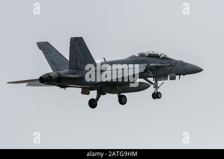 A McDonnell Douglas F/A-18F Super Hornet of Strike Fighter Squadron 102 (Diamondbacks), part of the Carrier Air Wing Five, Stock Photo