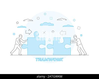 Teamwork Business concept Vector illustration in linear style - Stock Photo