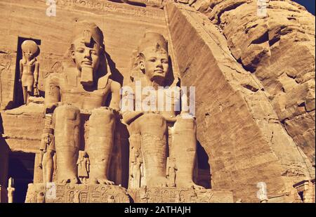 detail of the Great Temple of Ramesses II, Abu Simbel, Egypt - Stock Photo