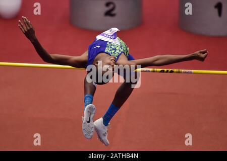 Trinec, Czech Republic. 02nd Feb, 2020. CHRIS MOLEYA of Republic of South Africa competes during the Beskydy's Bar indoor athletic meeting in high jump, on February 2, 2019, in Trinec, Czech Republic. Credit: Jaroslav Ozana/CTK Photo/Alamy Live News - Stock Photo