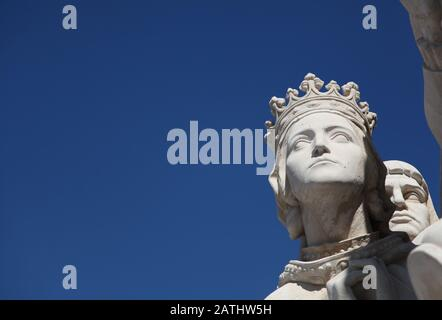 Head of statue of Queen Filipa De Lencastre, Mother of Prince Henry on the Padrao dos Descobrimentos, or Monument of the Discoveries, in Belem, Lisbon - Stock Photo