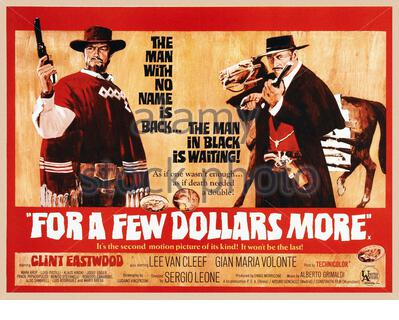 For a Few Dollars More is a 1965 spaghetti Western film directed by Sergio Leone. It stars Clint Eastwood and Lee Van Cleef as bounty hunters and Gian - Stock Photo