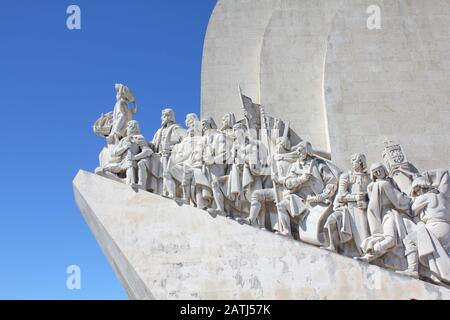 LISBON, PORTUGAL – 9 SEPTEMBER 2013: Padrao dos Descobrimentos -  Monument to the Discoveries commemorates the Portuguese Age of Discovery in the 15th - Stock Photo