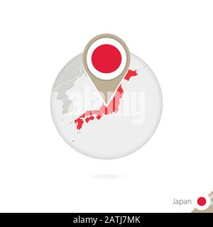 Japan map and flag in circle. Map of Japan, Japan flag pin. Map of Japan in the style of the globe. Vector Illustration. - Stock Photo