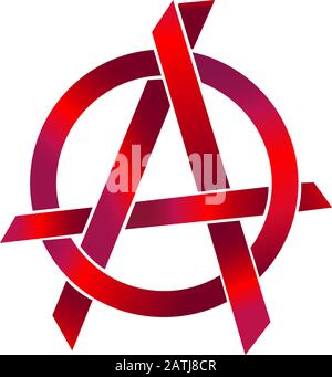 Metalic Red Anarchy Symbol, Sharp Shape Element, EPS 10 Vector Illustration - Stock Photo