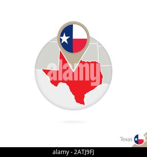 Texas US State map and flag in circle. Map of Texas, Texas flag pin. Map of Texas in the style of the globe. Vector Illustration. - Stock Photo
