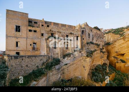 Procida (Italy) - The Monumental complex of Palazzo D'avalos, the former penitentiary of Procida, southern Italy - Stock Photo