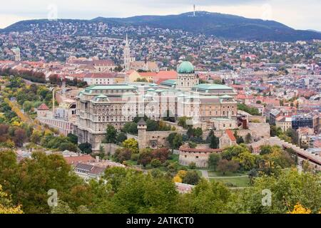 View of Buda Castle Royal Palace on the southern tip of Castle Hill int the Buda side of Budapest, Hungary. A UNESCO World Heritage Site. - Stock Photo