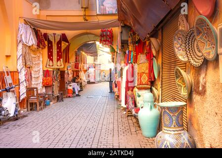Moroccan market (souk) in the old town (medina) of Marrakech, Morocco