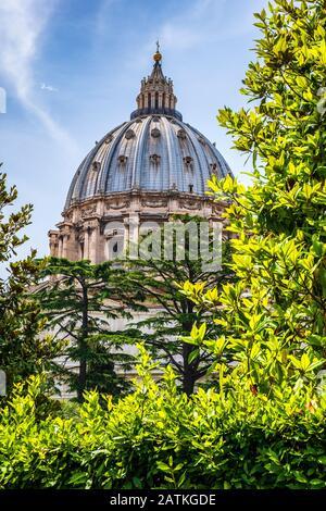 Rome, Vatican City / Italy - 2019/06/15: Panoramic view of St. Peter's Basilica - Basilica di San Pietro in Vaticano - dome by Michelangelo Buonarotti