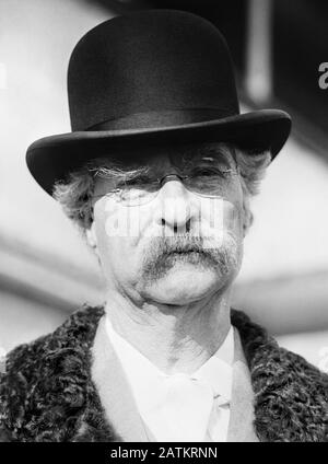 Vintage photo of American writer and humourist Samuel Langhorne Clemens (1835 – 1910), better known by his pen name of Mark Twain. Photo circa 1909 by Bain News Service. - Stock Photo