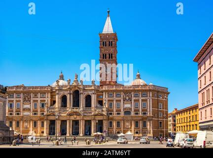 Rome, Italy - 2019/06/16: Papal Basilica of St. Mary Major - Basilica Papale di Santa Maria Maggiore - on the Esquiline hill in the historic Rome - Stock Photo