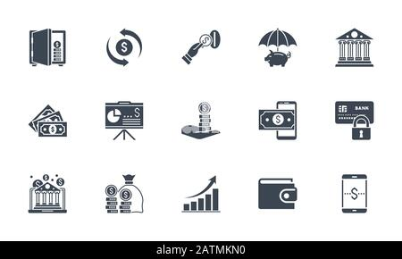 Banking icons set. Related vector glyph icons. - Stock Photo