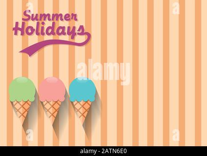 Vector abstract vintage ice cream, flat design background - Stock Photo