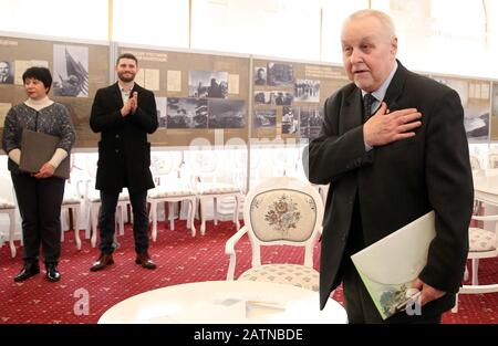 YALTA, RUSSIA - FEBRUARY 4, 2020: Military science expert Alexander Krasikov visits a history exhibition in Livadia Palace marking the 75th anniversary of the Yalta Conference (also known as the Crimean Conference); Alexander Krasikov has donated photographs of the Yalta Conference by Boris Sheinin and archive photographs from the collection of Vasily Yermachenkov (who was commander of the Soviet Navy Baltic Fleet Air Force in 1942-1945) to the Livadia Palace Museum; the Yalta conference was a meeting of the three leaders of the Allied nations - Soviet leader Stalin, US President Roosevelt and - Stock Photo