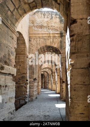 El Jem, Tunisia -  June 28, 2019. Interior of Amphitheatre of El Jem in Tunisia. Amphitheatre is in the modern-day city of El Djem - Stock Photo