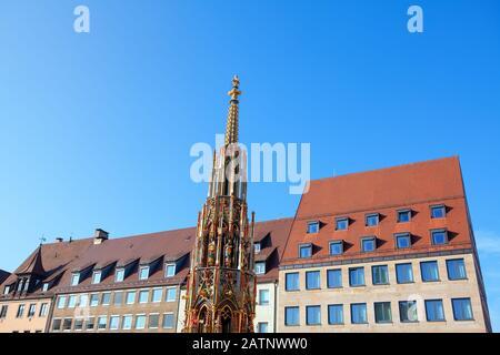 Beautiful Fountain on Hauptmarkt Nuremberg - Stock Photo