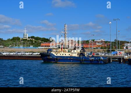 Perth, WA, Australia - November 27, 2017: Vessel on pier at Freemantle harbor - Stock Photo