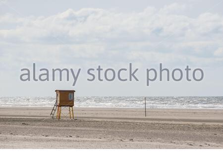 a lifeguard station on the beach of langeoog island - Stock Photo